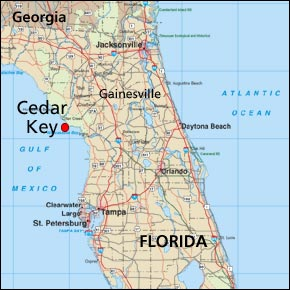 Cedar Key Fl Located On A Florida State Map